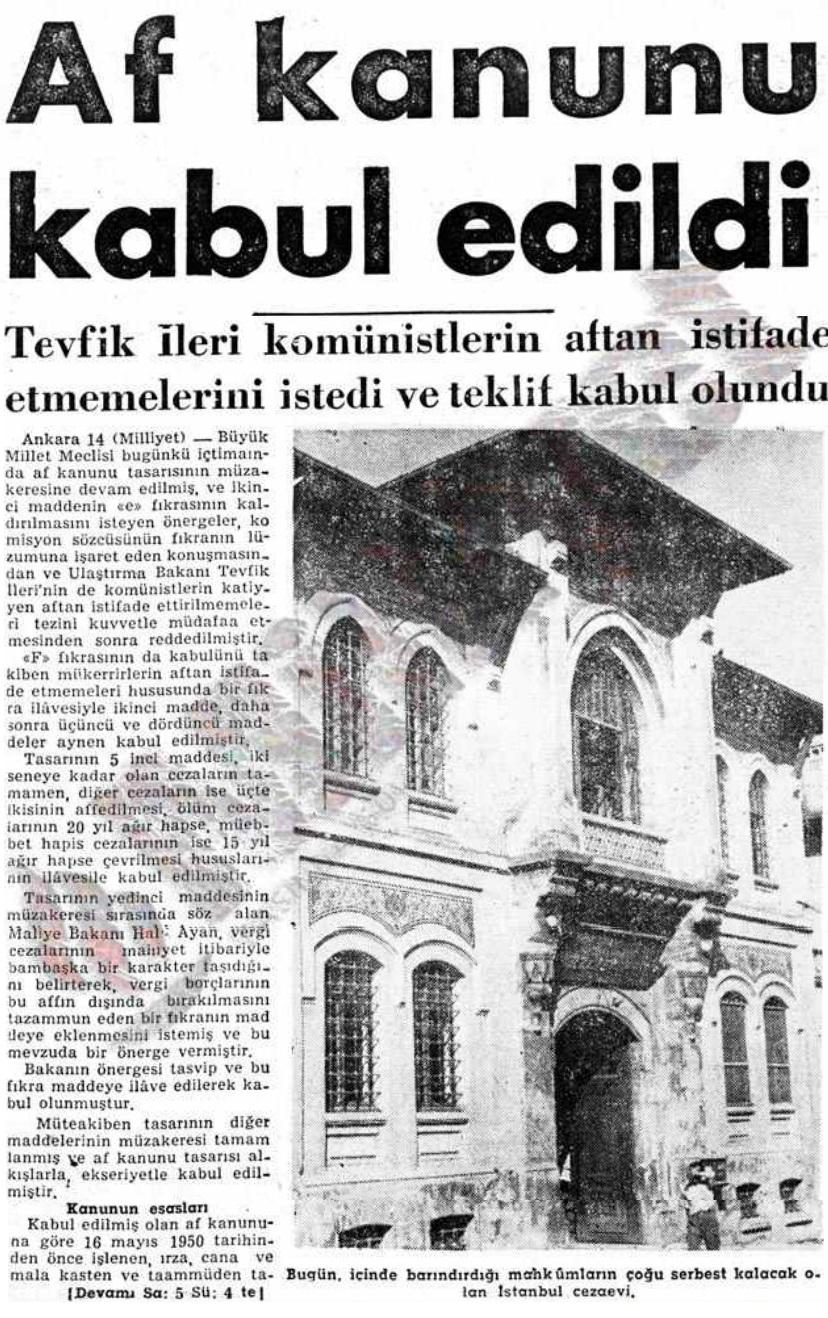 Türkiye Tarihindeki Af Yasaları...