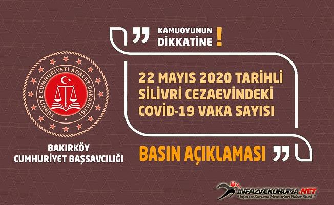 Bakırköy Cumhuriyet Başsavcılığı 22 Mayıs 2020 Tarihli Silivri Cezaevindeki Covid-19 Vaka Sayısı Basın Açıklaması