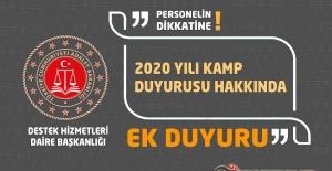 Adalet Bakanlığı 2020 Yılı Kamp Duyurusu Hakkında Ek Duyuru