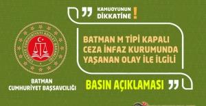 Batman M Tipi Kapalı Ceza İnfaz Kurumunda Yaşanılan Olayla İlgili Basın Açıklaması