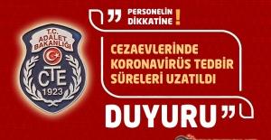 Cezaevlerinde Koronavirüs Tedbir Süreleri 1 Ekim 2020 ye Kadar Uzatıldı