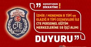İzmir/Menemen R Tipi ve Elazığ R Tipi Cezaevleri ile CTE Personel Eğitim Merkezlerine 58 İşçi Alım İlanı