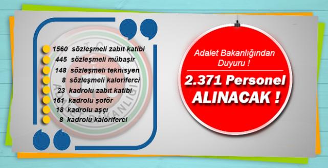 Adalet Bakanlığından Duyuru !  2371 Personel Alınacak !