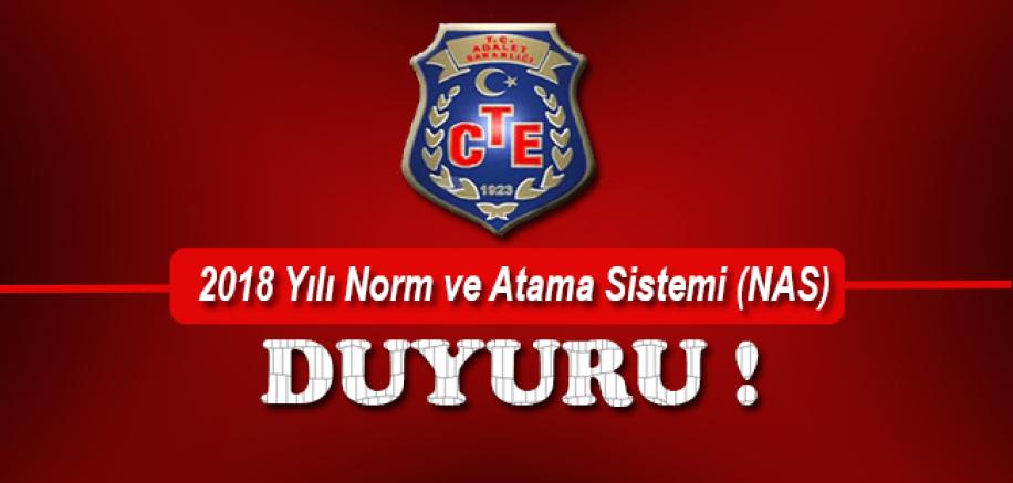 CTE 2018 Yılı Norm ve Atama Sistemi (NAS) Duyurusu !